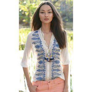 TINY Anthropologie Paisley Trails Top Silk Blend